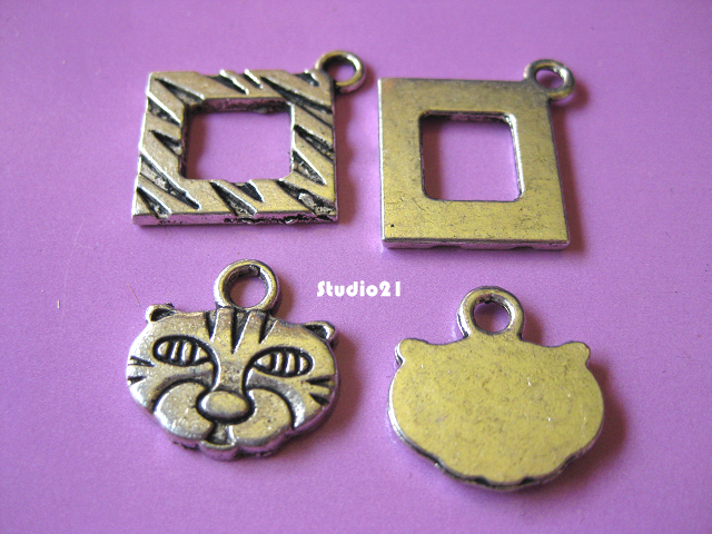 10 sets Antique Silver Finish Kitty 3-Piece Toggle