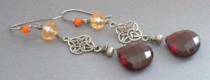 Oxidized Sterling Silver Celtic Link and AAA Grade Red Quartz and Citrine Quartz