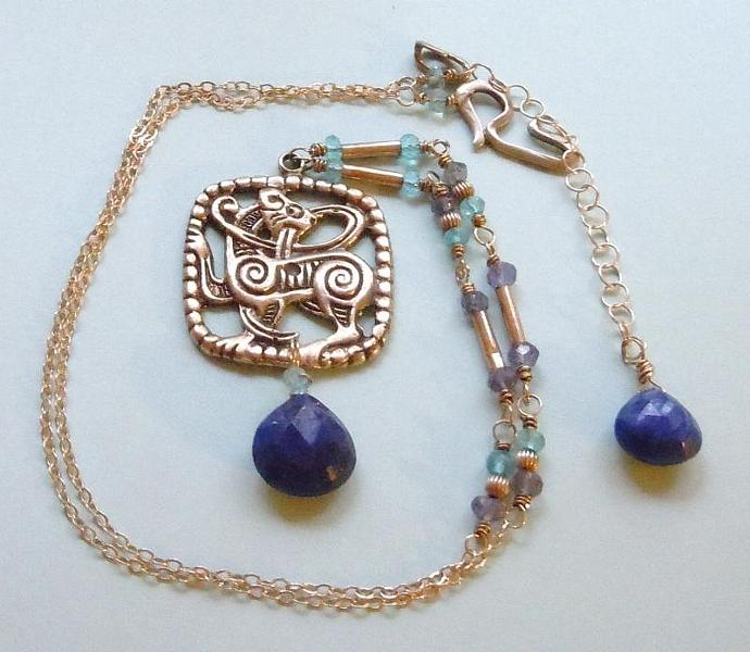 Sterling Silver Celtic Cat Pendant and AAA Grade Lapis Lazuli