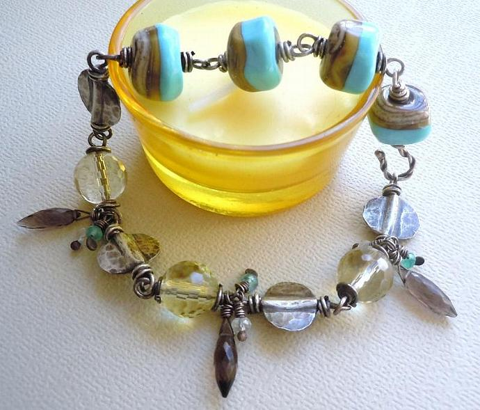 Rustic Sterling Silver Bracelet, Featuring Lampwork Pebbles and AAA Grade