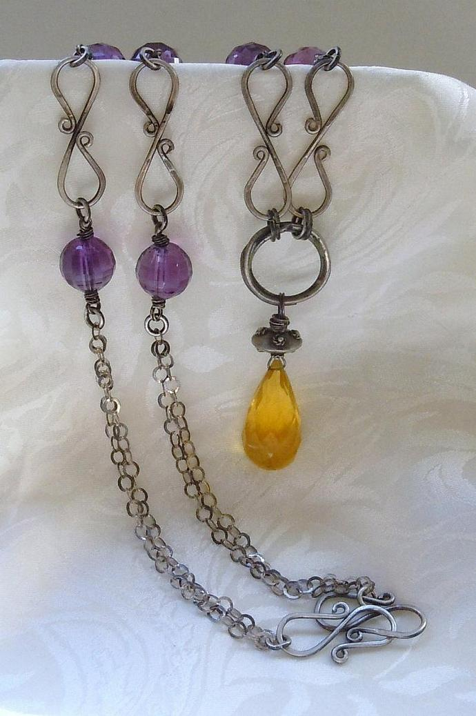 Rustic Sterling Silver Necklace featuring AAA Grade Yellow Fluorite and Royal