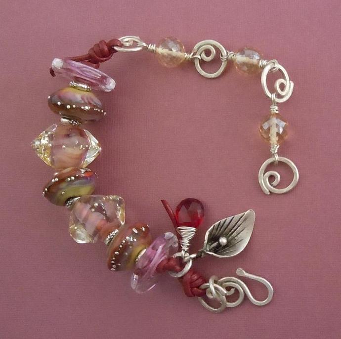 Sterling Silver Lampwork Bracelet featuring AAA Grade Citrine Quarrtz