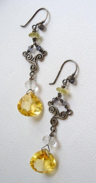 Aged Sterling Silver Chandelier Earrings and AAA Grade Citrine Quartz