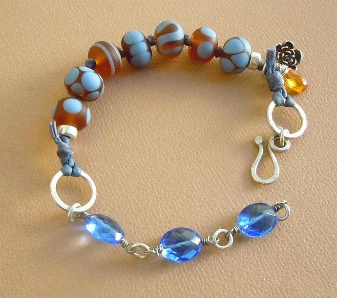 Sterling Silver Lampwork Bracelet featuring AAA Grade Tanzanite Blue Quartz