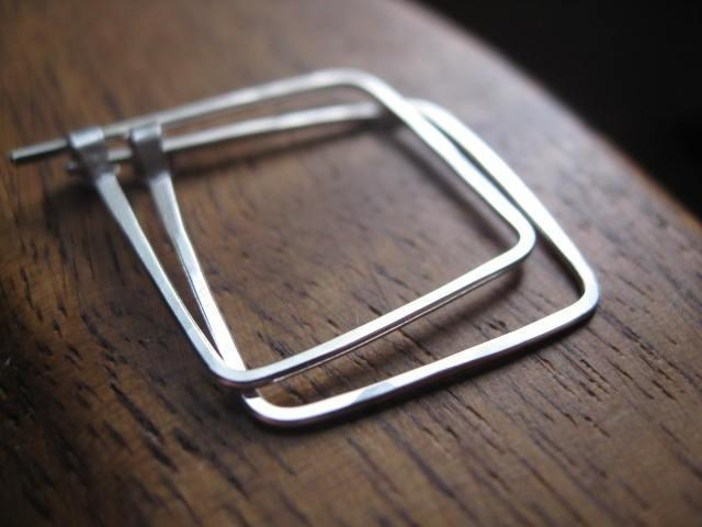 square sterling silver hoop earrings