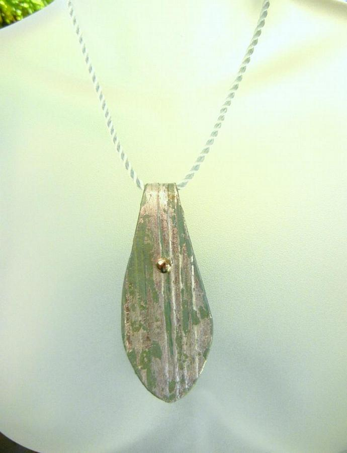 Recycled Paper Large Aqua Pendant Necklace on Twisted Silk Cord -  Bumbleberry