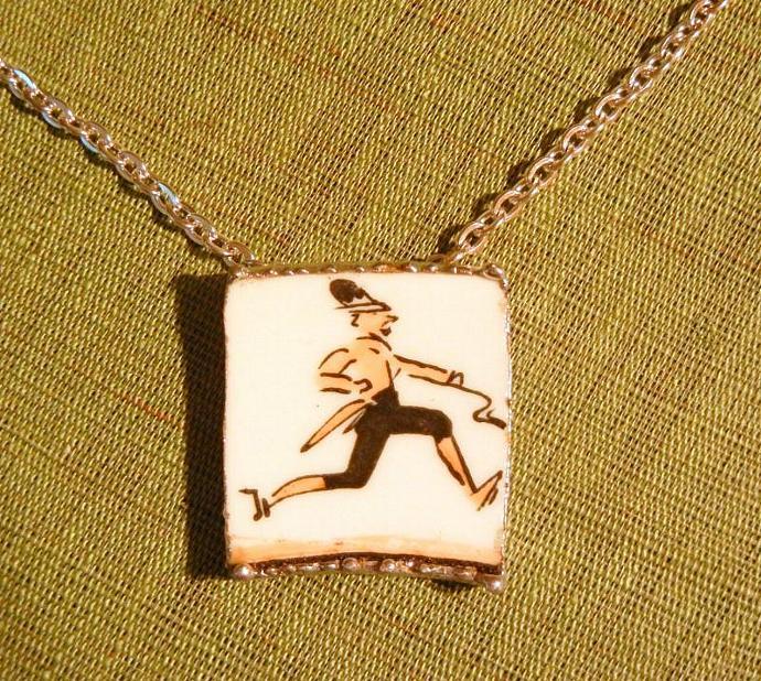Vintage Running Man Broken China Necklace Pendant Royal Worcester Platter.