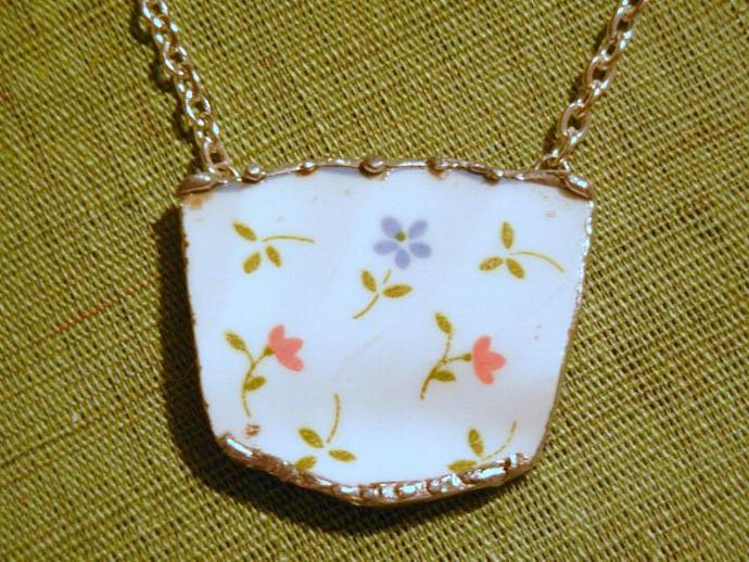 Blue Pink Flowered Broken China Pendant Necklace by Bumbleberry Jewelry