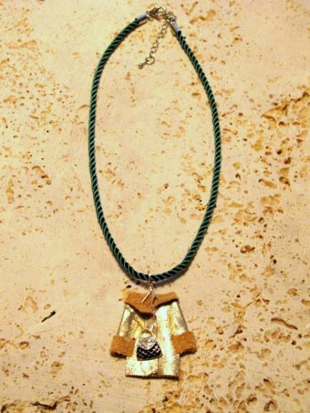 Fun Mini Gold Coat Leather Pendant Necklace  by Bumbleberry Jewelry