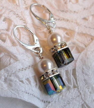 Swarovski  Crystal Earrings 8mm Vitrail Crystal Cubes, Pearls & Squaredelles.
