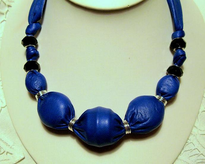 Blue Leather Necklace Beaded - Magnetic Closure by Bumbleberry Jewelry