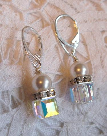 Swarovski Crystal Earrings 8mm Clear AB Crystal Cubes, Pearls & Squaredelles.