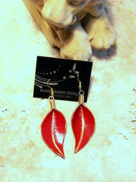 Red Patent Leather Leaf Earrings by Bumbleberry Jewelry