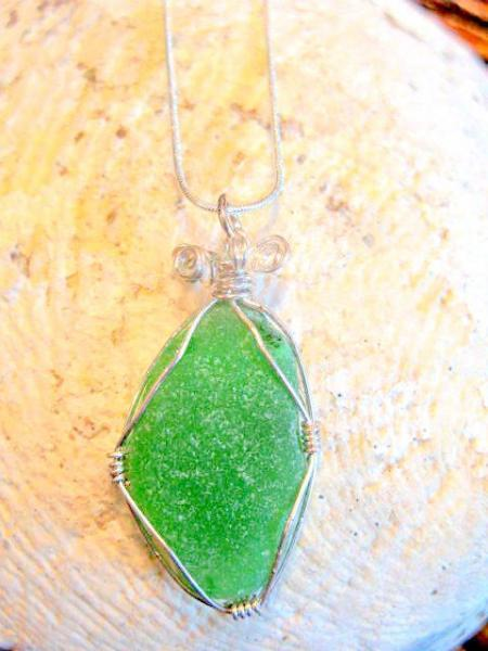 Beach Glass Pendant Necklace Sterling Chain, by Bumbleberry Jewelry