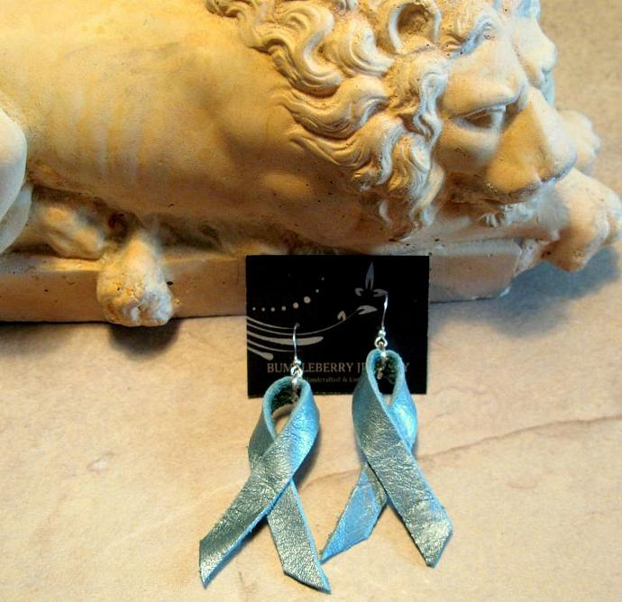Teal Leather Awareness Ribbon Earrings by Bumbleberry Jewelry