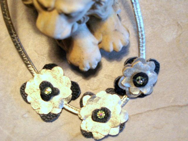 Leather Flower Necklace - Gold and Black by Bumbleberry Jewelry