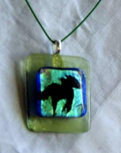 Fused Glass Pendant Necklace, Horse, Dichroic.  Bumbleberry Jewelry