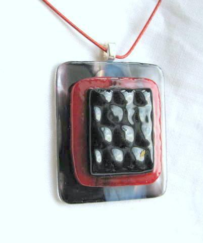 Fused Glass Pendant, Black Red 3D Pendant Necklace by Bumbleberry Jewelry