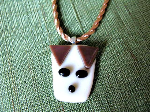 Dog Fused Glass Pendant Necklace by Bumbeberry Jewelry