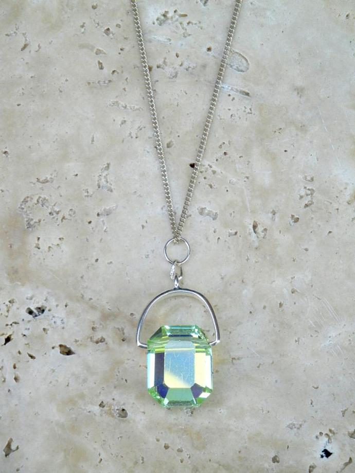 Chrysolite Swarovski Crystal Necklace w/ Vintage Lozenge Crystal  Article 5105.