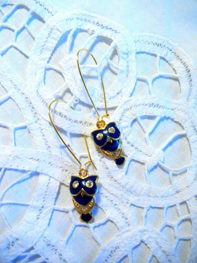 Blue Enamel Gold tone Owl Earrings with Crystal Rhinestones.  Bumbleberry