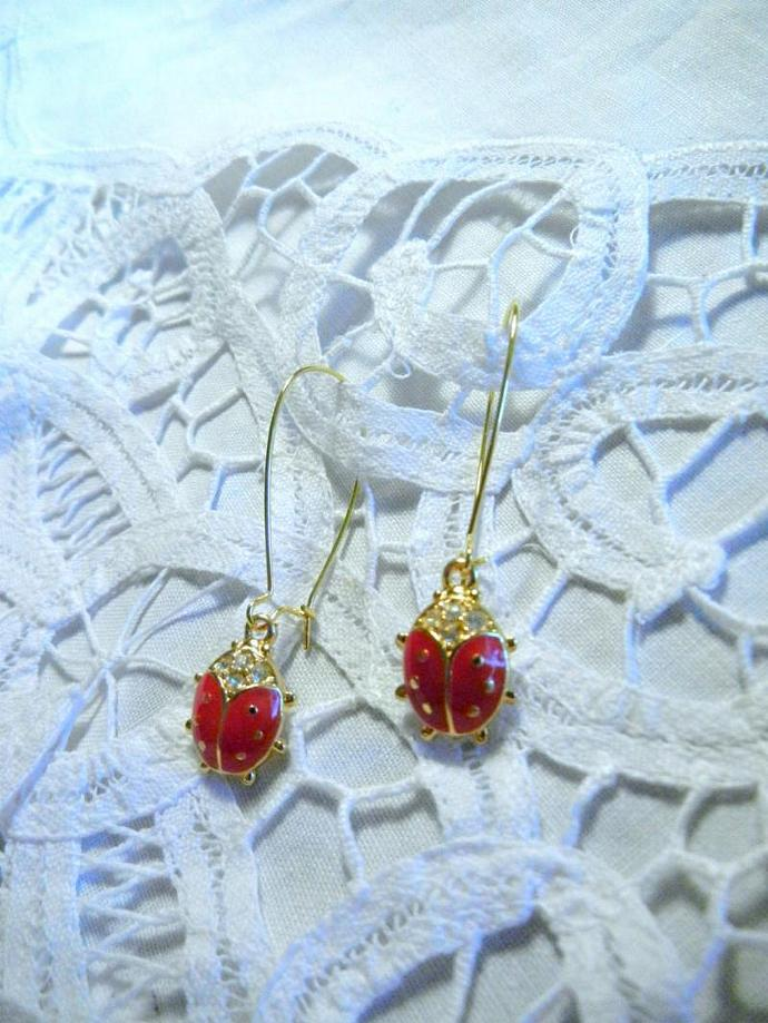Enamel Red Lady Bugs Gold tone Earrings  with Crystal Rhinestones.  Bumbleberry
