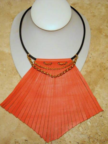 Orange, Peach Fringe Bib Statement Leather Necklace, Gold Chain.  Bumbleberry