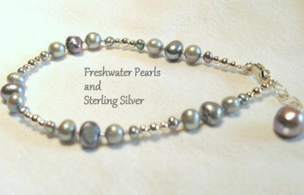Sterling Silver, Grey Freshwater Pearl Anklet
