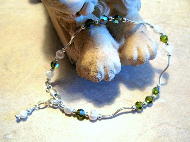 Green Swarovski Crystal Anklet, Sterling Silver and Pearls by Bumbleberry