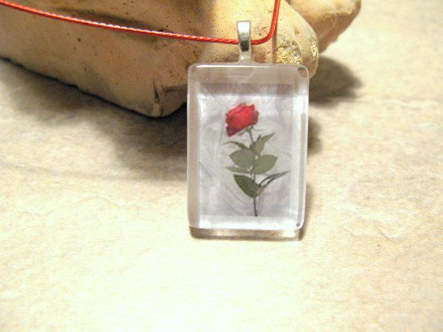 Single Red Rose Glass Tile Pendant.  Bumbleberry Jewelry