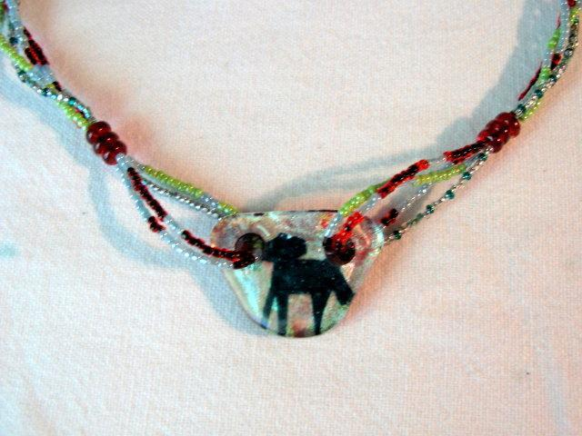 Fused Glass Pendant Necklace, Dichroic with Copper Horse Infusion, Red & Green.