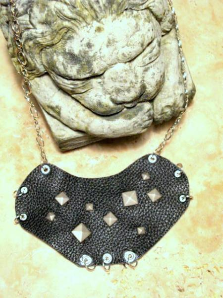 Black Leather Studded Bib Necklace, Punk, statement
