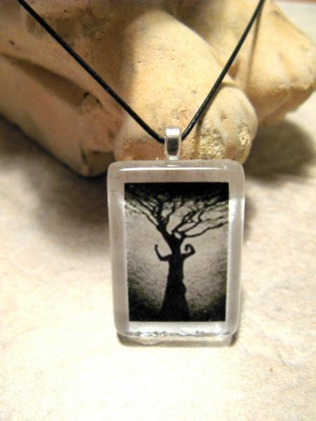 Glass Tile Pendant Necklace of Black Tree. Bumbleberry Jewelry