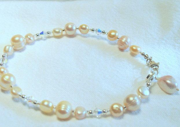 Sterling, Swarovski Crystals, Pearl Anklet.  Bumbleberry Jewelry