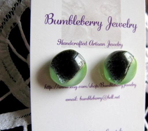Mint Green & Black Fused Glass Stud Earrings.  Bumbleberry Jewelry