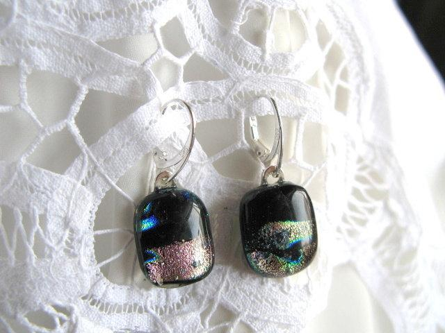 Dichroic Fused Glass Earrings x 3.  Bumbleberry Jewelry