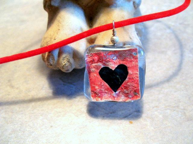 Paper Heart in Fused Glass Pendant Necklace.  Bumbleberry Jewelry