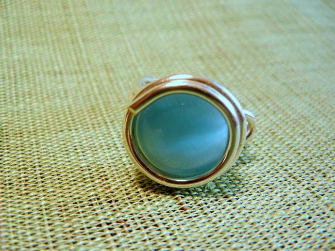 Blue Cabochon, Sterling Silver Wire Wrapped  Ring Size 6.5