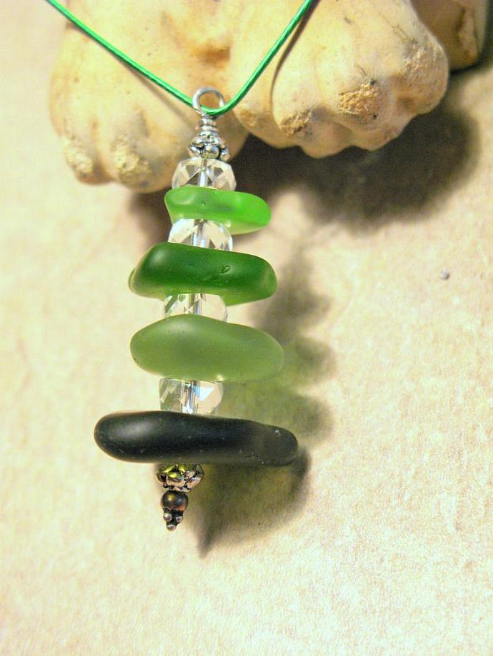 Beach Glass Pendant Necklace, Green Tree, Christmas Tree.  Bumbleberry Jewelry