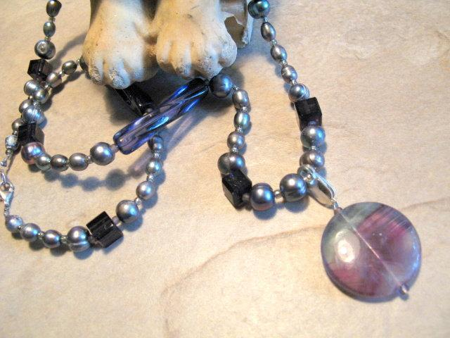 Long Amethyst Pearl Necklace  Detachable pendant.  Bumbleberry Jewelry