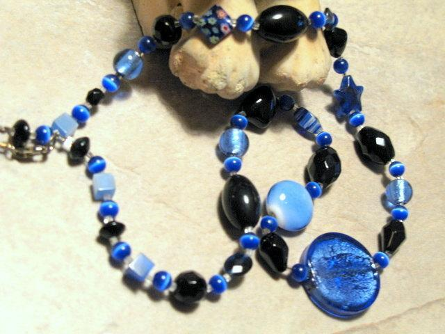 Dichroic Black and Blue Beaded Necklace.  Sterling Silver closure.  Bumbleberry