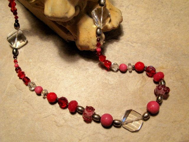 Red  Gemstone and Crystal Necklace with Sterling Silver closure by Bumbleberry