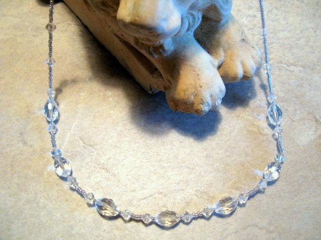 Clear Crystal Necklace with Sterling Silver Clasp.  Bumbleberry Jewelry