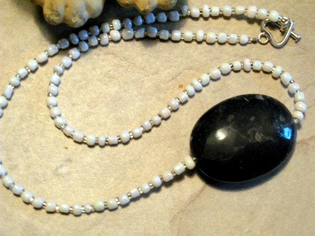 Beaded Black Agate Necklace w/ White Stone Beads. Black & White Necklace.