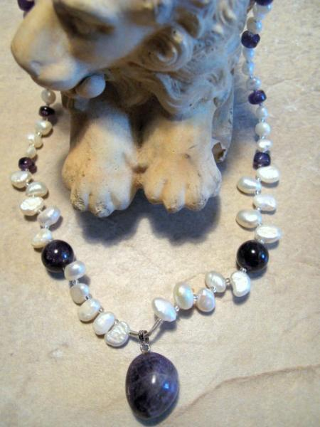 Amethyst Pearl Necklace, sterling silver.  Bumbleberry Jewelry