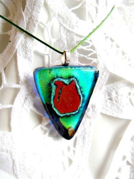 Fused Glass  Pendant  Necklace. Copper Cat Green Dichroic Triangle.  Bumbleberry