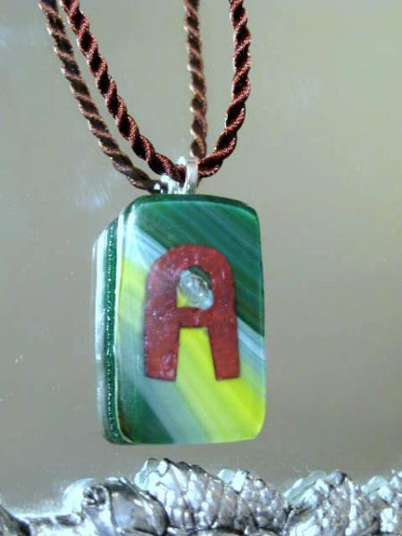 "Green Fused Glass Pendant Letter ""A"" on Silk Cord.  Bumbleberry Jewelry"