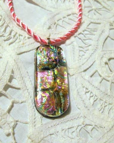 Pink Fused Glass Dichroic Pendant on Pink Silk Cord.  Bumbleberry Jewelry