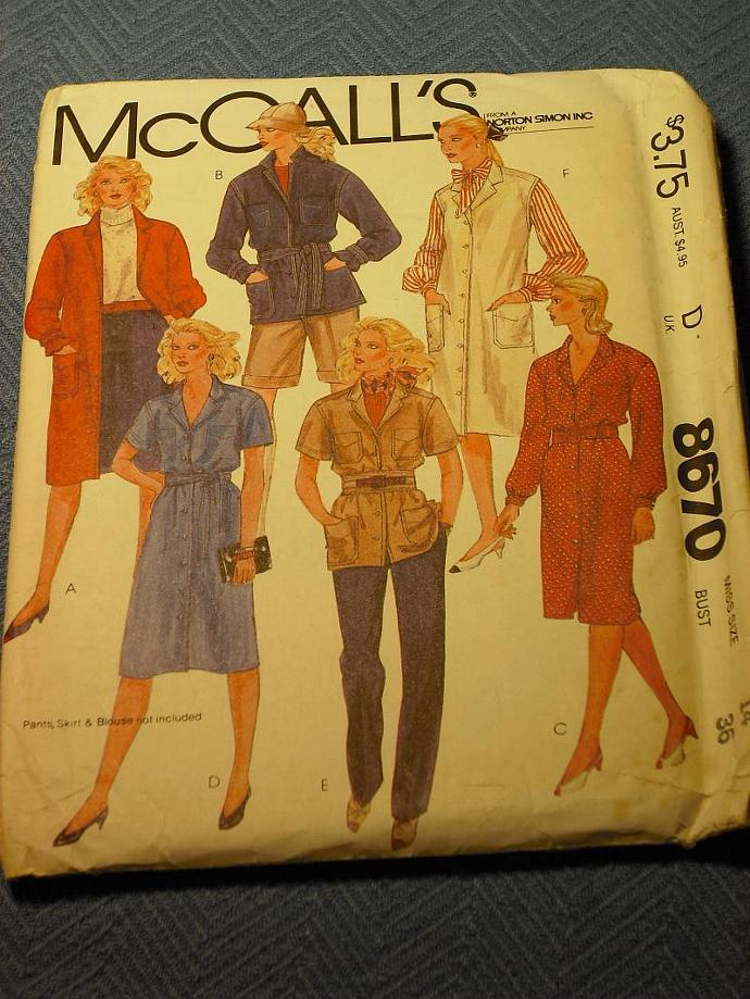 Uncut 1983 McCall's Pattern Coat Dress Shirt Jacket or Jumper for 6 Different