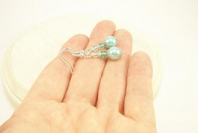 Aqua Pearl and Glass Petite Dangle Earrings